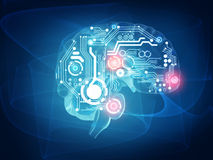 Futuristic human brain vector illustration