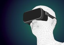 Futuristic human head wearing vr headset for augmented reality. Wireframe futuristic human head wearing vr headset for immersive experience in augmented reality Royalty Free Stock Images