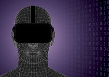 Futuristic human head wearing vr headset front view. Futuristic human head wearing vr headset over a binary code background. Vector illustration Royalty Free Stock Images