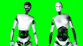 Futuristic humanoid female robot is idle . Realistic motion and reflections. 4K green screen footage.