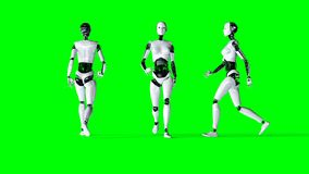 Futuristic humanoid female robot isolate on green screen. Realistic 3d rendering. Royalty Free Stock Photo