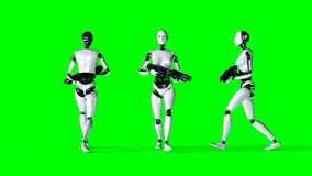 Futuristic humanoid female robot isolate on green screen. Realistic 3d rendering. Royalty Free Stock Photos