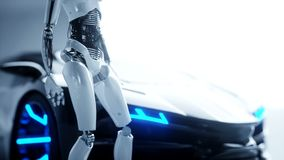 Futuristic humanoid female robot and sci fi car. Realistic motion and reflections. Concept of future. 4K footage. royalty free illustration