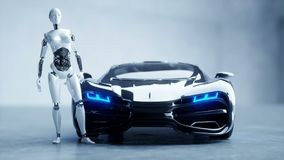 Futuristic humanoid female robot and sci fi car. Realistic motion and reflections. Concept of future. 4K footage. vector illustration