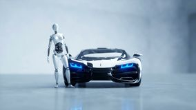 Futuristic humanoid female robot and sci fi car. Realistic motion and reflections. Concept of future. 4K footage. stock illustration