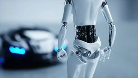 Futuristic humanoid female robot is walkihg to car. Concept of future. 3d rendering. Royalty Free Stock Image