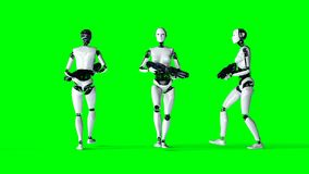 Futuristic humanoid female robot is walking with gun . Realistic motion and reflections. 4K green screen footage. Futuristic humanoid female robot is walking vector illustration