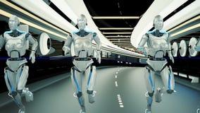 A futuristic humanoid robots, running through a sci-fi tunnel. stock illustration