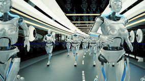 A futuristic humanoid robots, running through a sci-fi tunnel. Loopable. HD A futuristic humanoid robot, walking through a fantastic tunnel. Great to be used in