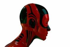 futuristic huvud isolerat robotic Arkivbilder
