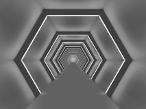 Futuristic illuminated hexagon shaped passage. royalty free illustration