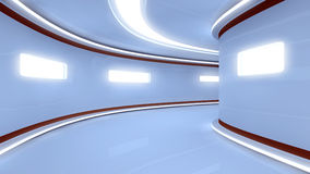 Futuristic illuminated long corridor Royalty Free Stock Photos