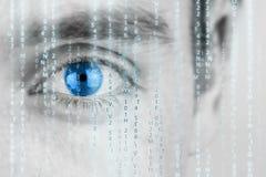 Futuristic image with matrix texture. Futuristic image with human eye with blue iris and matrix texture royalty free stock image