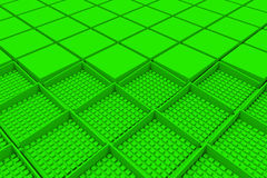Futuristic industrial background made from green square shapes Stock Photo
