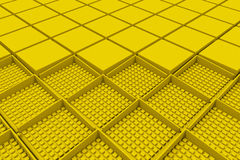 Futuristic industrial background made from yellow square shapes Stock Photos
