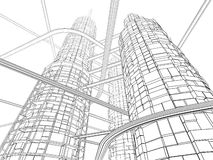 Futuristic Industry Skyscraper. And Monorails on White Background. Linear inking painting royalty free illustration
