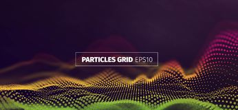 Futuristic infographics. Wavy particles grid. Abstract sound wave flow background. Futuristic infographics. Wavy particles grid. Sound wave flow banner stock illustration