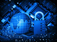Futuristic integrated circuit, code lock and globe. The concept of electronic security Royalty Free Stock Photography
