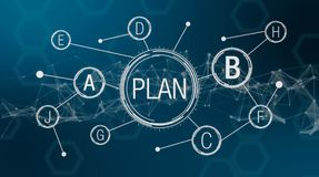 Concept of plan b. Futuristic interface for the concept of plan b, different strategy and solution, abstract elements on background 3d render Royalty Free Stock Photos