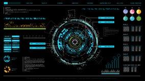 Futuristic interface hud design, infographic elements like scanning graph or waves, warning arrow and bar regulator, fingerprint o Stock Photography