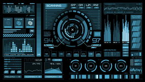 Futuristic interface | HUD | Digital screen. Ultra detailed abstract digital background. Blinking and switching indicators and statuses showing work of command stock video footage