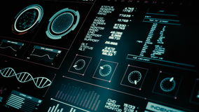 Futuristic interface | HUD | Digital screen. Ultra detailed abstract digital background. Blinking and switching indicators and statuses showing work of command stock footage