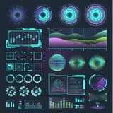 Futuristic interface space motion graphic infographic game and ui ux elements hud design graph wave bar hologram vector. Illustration. Tech and science analysis Stock Photography