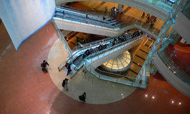 Futuristic interior. Interior of modern futuristic building - public hall of japanese airport Stock Photos