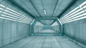 Futuristic interior. 3d design. White futuristic interior and lights Royalty Free Stock Photo