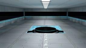 Futuristic interior. 3d design. White futuristic interior and lights Stock Images