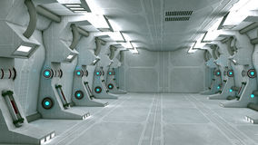 Futuristic interior. 3d design. White futuristic interior and lights Stock Photos