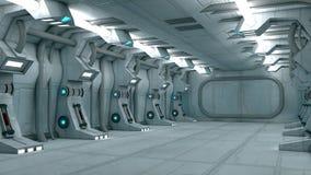 Futuristic interior. 3d design. White futuristic interior and lights Royalty Free Stock Photography