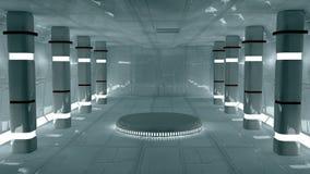 Futuristic interior. 3d design. White futuristic interior and lights Stock Photography