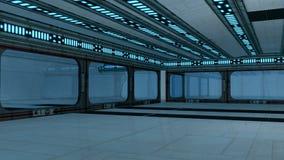 Futuristic interior. 3d design. White futuristic interior and lights Royalty Free Stock Photos
