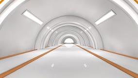Futuristic interior. 3d design. Futuristic interior corridor SCIFI Stock Photo