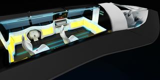 Futuristic interior design of business class aircraft. 3D illustration Stock Illustration