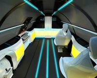 Futuristic interior design of business class aircraft. 3D illustration Royalty Free Illustration
