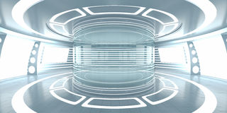 Futuristic interior with empty glass showcase Royalty Free Stock Photography