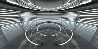 Futuristic interior with empty glowing podium. For your content. 3d rendering Royalty Free Stock Images