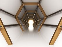 Futuristic Interior empty room with abstact reflective wall stock illustration