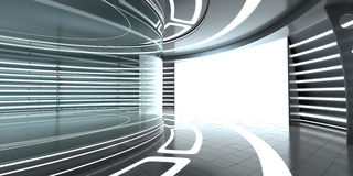 Futuristic interior with glass showcase and panel Royalty Free Stock Photo