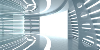 Futuristic interior with glass showcase and panel Royalty Free Stock Image