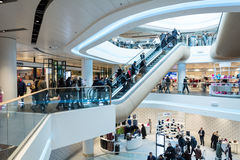 Futuristic interior renovated shopping center Royalty Free Stock Photo