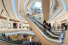 Futuristic interior renovated shopping center Royalty Free Stock Photography