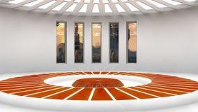 Futuristic interior and scifi city. Background Royalty Free Stock Photo