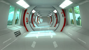 Futuristic interior and scifi city Royalty Free Stock Photo