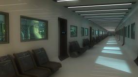 Futuristic interior and scifi city Stock Photo