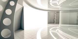 Futuristic interior with showcase and glow panel Royalty Free Stock Photo
