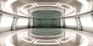 Futuristic interior with showcase and glow panel Royalty Free Stock Photos