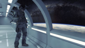Futuristic interior and soldier. At space royalty free stock images